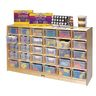 Mobile Cubbie Storage - 30 Cubbies, With Clear Trays