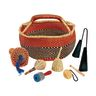 African Bolga Market Basket and Set of 6 African Music Instruments