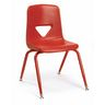 """Red 9-1/2""""H Scholar Craft™ Stack Chairs with Matching Legs - Set of 5"""