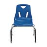 """Single 14"""" Stacking Chairs with Chrome Legs - Blue"""