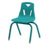 """Single 14"""" Berries® Stacking Chairs with Matching Legs - Teal"""