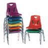 """Single 14"""" Stacking Chairs with Chrome Legs - Orange"""