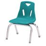 """Single 10"""" Stacking Chairs with Chrome Legs - Teal"""