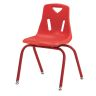 """Single 16"""" Stacking Chairs with Matching Legs - Red"""