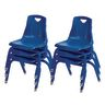 "14"" Stacking Chairs with Matching Legs, Blue- Set of 6"