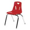 """14"""" Stacking Chairs with Chrome Legs, Red - Set of 6"""