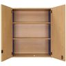 Adjustable 3-Shelf Locking Wall Storage - Maple/Royal Blue, Assembled