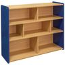 "Divided 3-Shelf Storage Unit, 38""H - Maple/Royal Blue, Assembled"