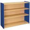"Straight 3-Shelf Storage Unit, 38""H - Maple/Royal Blue, Assembled"