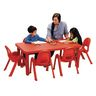 "Angeles® MyValue™ Set - 28"" x 48"" Table with 6, 11""H Chairs Red"