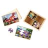 Melissa & Doug Dinosaurs 4-in-1 Wooden Jigsaw Puzzles in a Storage Box 48-Pieces