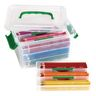 Premium Extra Large Coloring Pencils - 12 colors, set of 96 in plastic tote with organizers