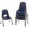 """10"""" Stack Chair with Ball Glides Navy, Set of 6"""