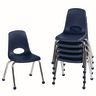 """16"""" Stack Chair with Ball Glides - Navy, Set of 6"""