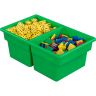 Two-Compartment All-Purpose Bins Set Of 12 Single Color - Green