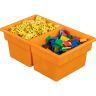Two-Compartment All-Purpose Bins Set Of 12 Single Color - Orange