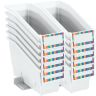 Durable Book and Binder Holder With Stabilizer Wing and Label Holder - White