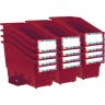 Durable Book and Binder Holder With Wing Stabilizer Wings and Label Holder - Royal Red