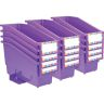 Durable Book and Binder Holder with Stabilizer Wing and Label Holder - Purple