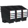 Durable Book and Binder Holder with Stabilizer Wing and Label Holder - Black
