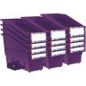 Durable Book and Binder Holder with Stabilizer Wing and Label Holder - Royal Purple