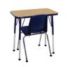 """Single Student Table with 14""""H Chair Set, Oak/Navy"""