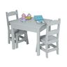 Wood Table and Chairs 3-Piece Set, Gray