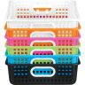 Classroom Paper Baskets with White Handles, Set of 6 - Neon Pop
