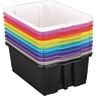 Classroom Stacking Bins, 12-Pack - Rainbow