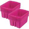Classroom Stacking Bins, Set of 12 - Neon Pink