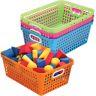 Book Baskets, Large Rectangle - Neon Colors - 4 baskets